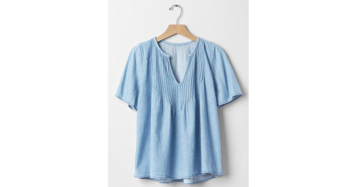 gap 1969 denim pintuck blouse in brown medium indigo lyst