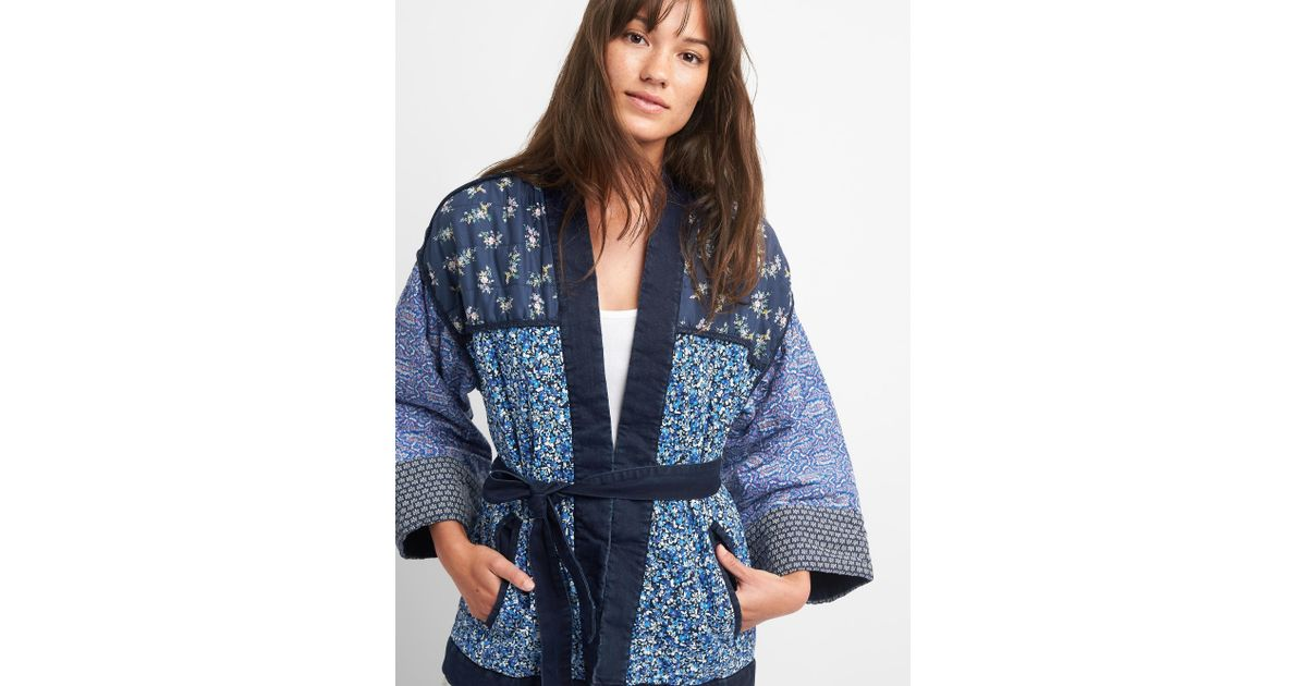 Lyst Gap Quilted Mix Print Kimono Jacket In Blue