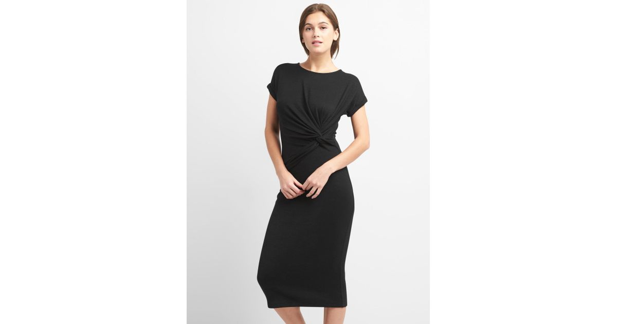 1d5c6d432f5 Lyst - Gap Softspun Midi T-shirt Dress With Twist-knot Detail in Black