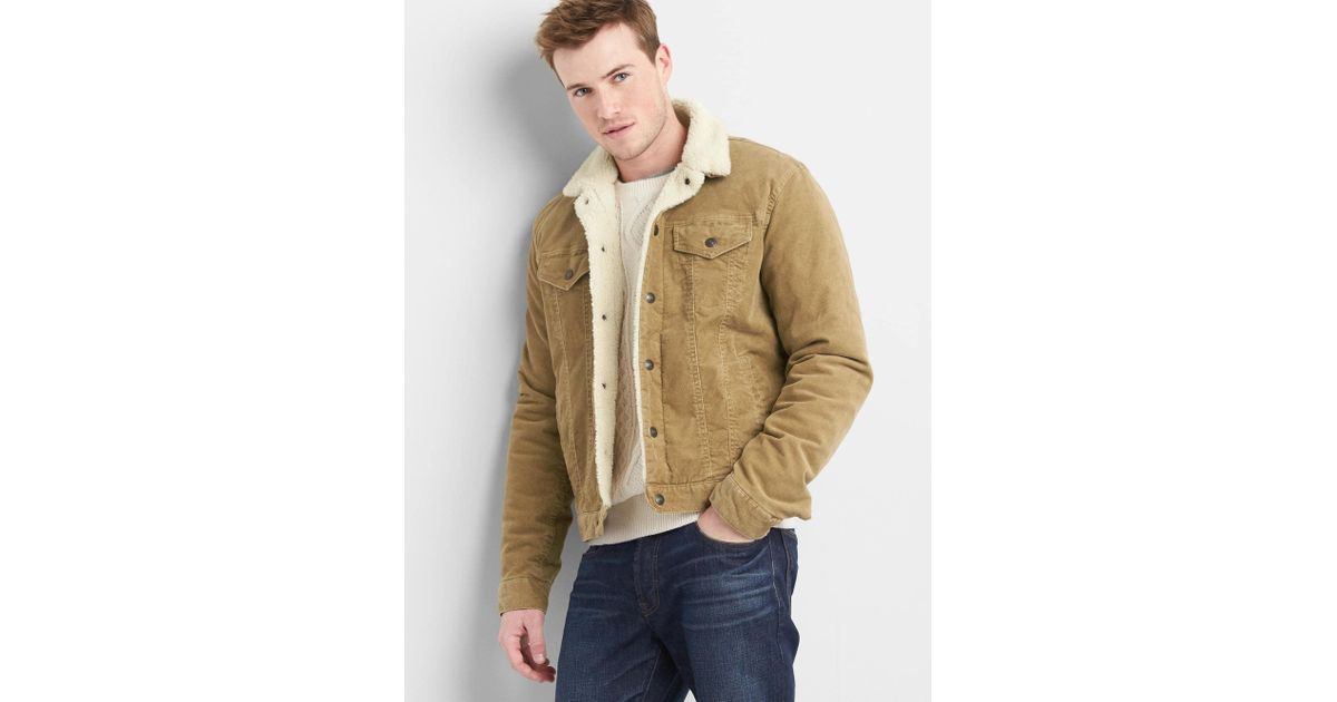 Lyst Gap Sherpa Lined Icon Cord Jacket In Natural For Men