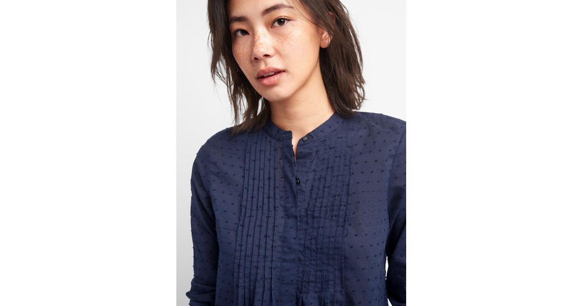 3837bbfc892d1 Lyst - Gap Popover Pintuck Shirt In Swiss Dot in Blue