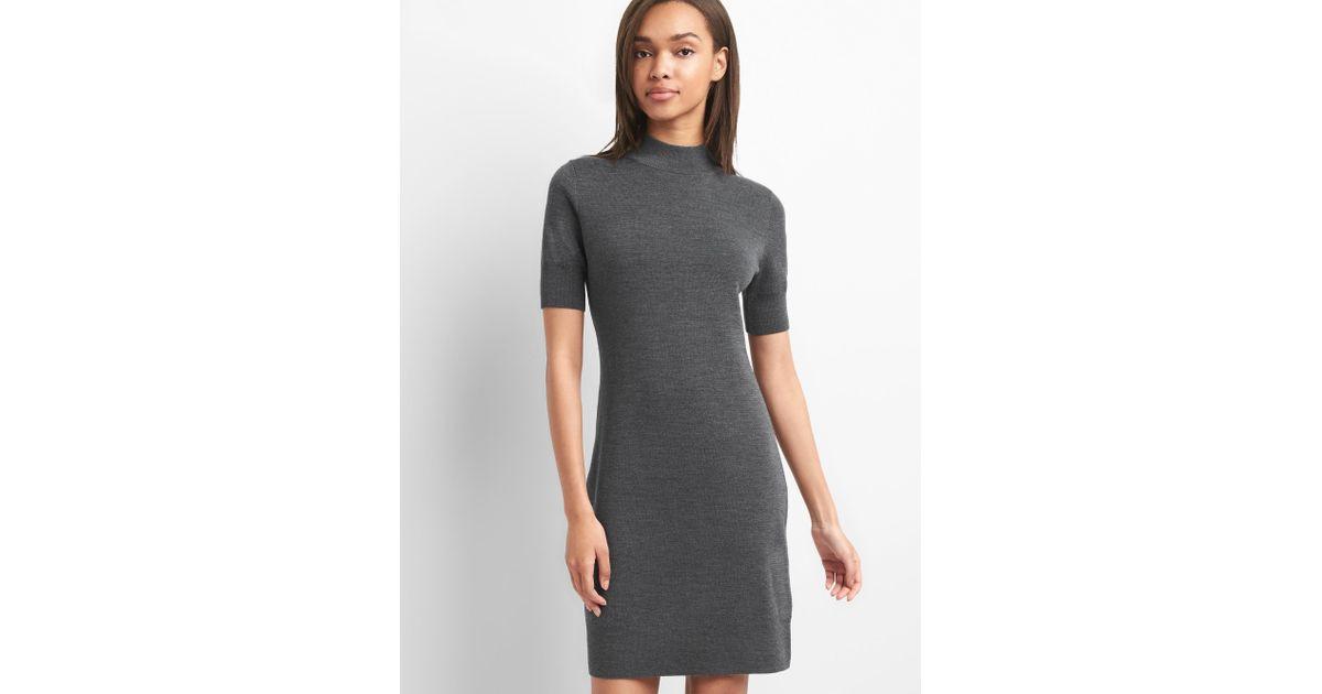f5530d146d6255 Gap Merino Wool Short Sleeve Sweater Dress in Gray - Lyst