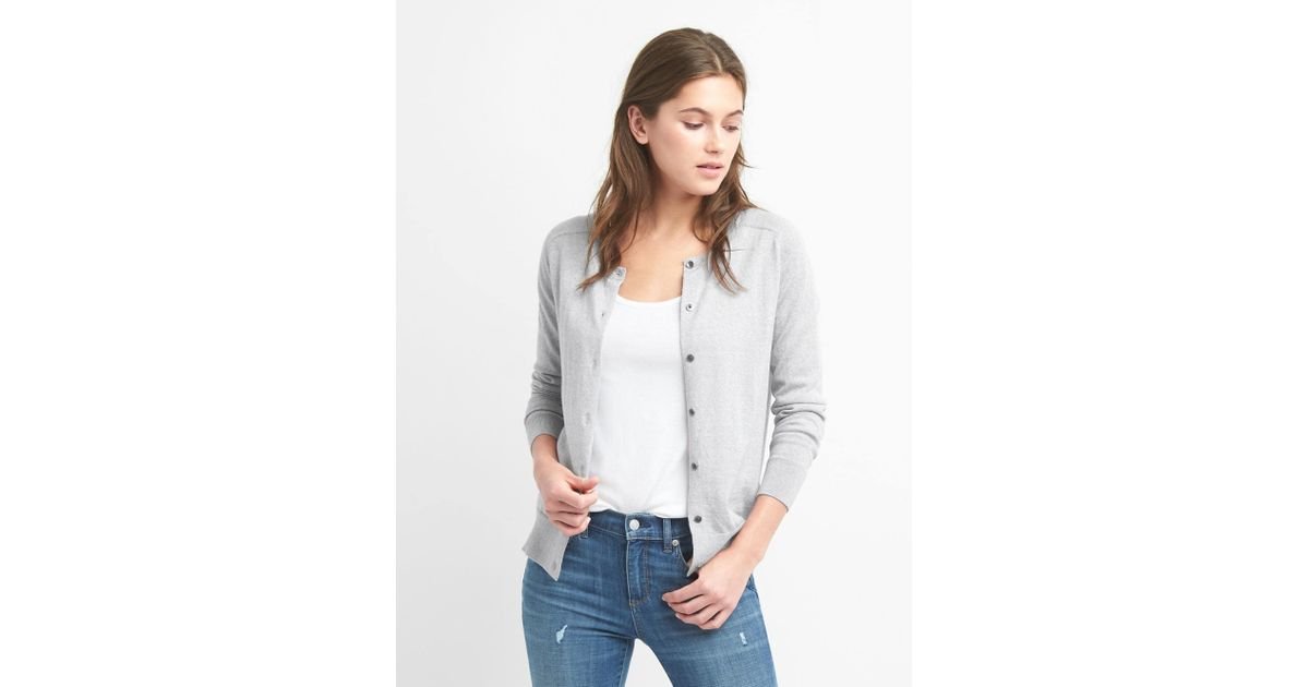 e820c79a3 Lyst - Gap Crewneck Cardigan Sweater In Merino Wool in Gray