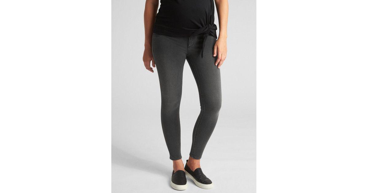 954c6cef39 Lyst - Gap Maternity Inset Panel Knit Favorite Ankle Jeggings in Black