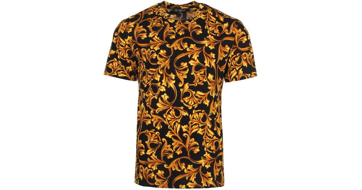887e17308 Versace All Over Baroque T-shirt Black/gold for Men - Lyst