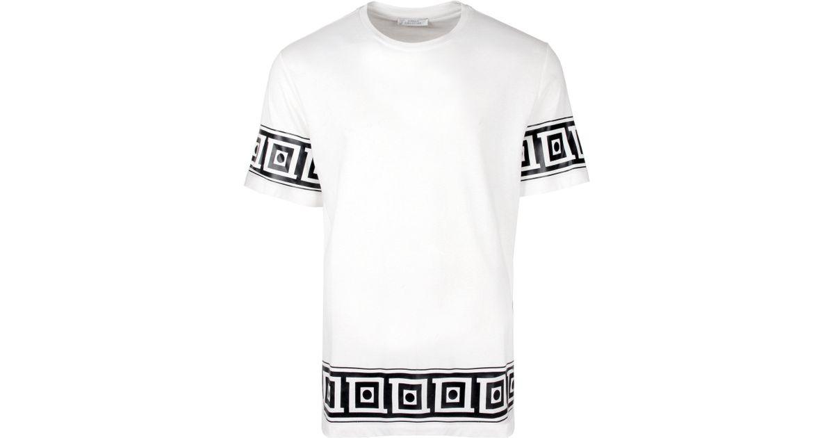 95896e489 Versace Greca Trim T-shirt White in White for Men - Lyst