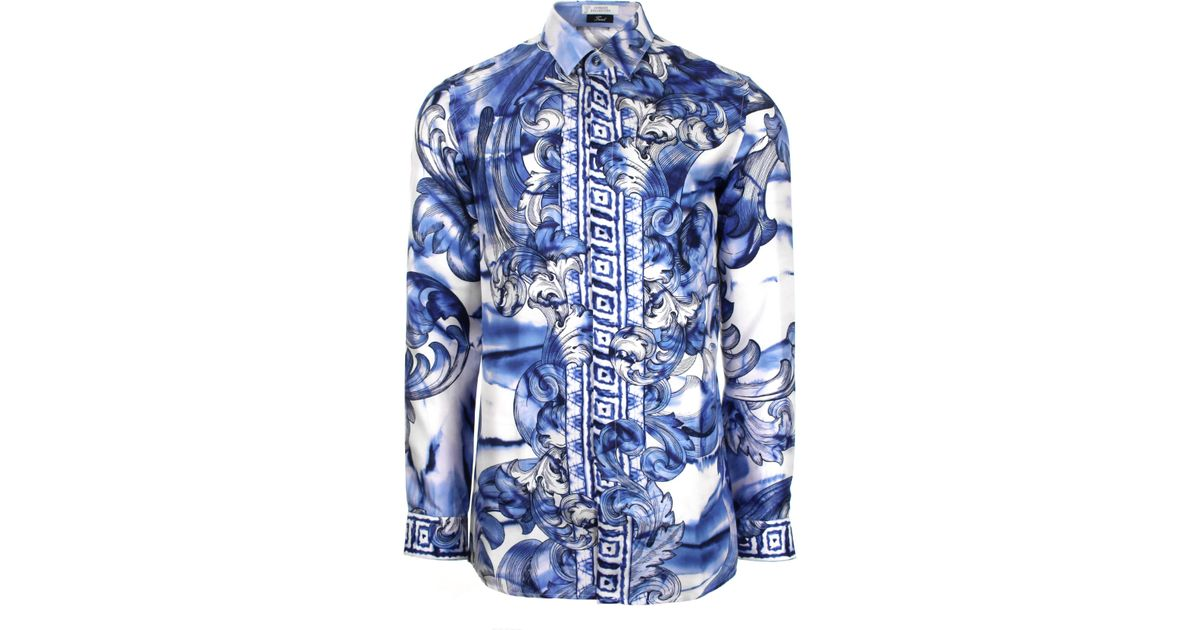 98067aad Versace Tie And Dye Baroque Hand Painted Silk Shirt Blue/navy in Blue for  Men - Lyst