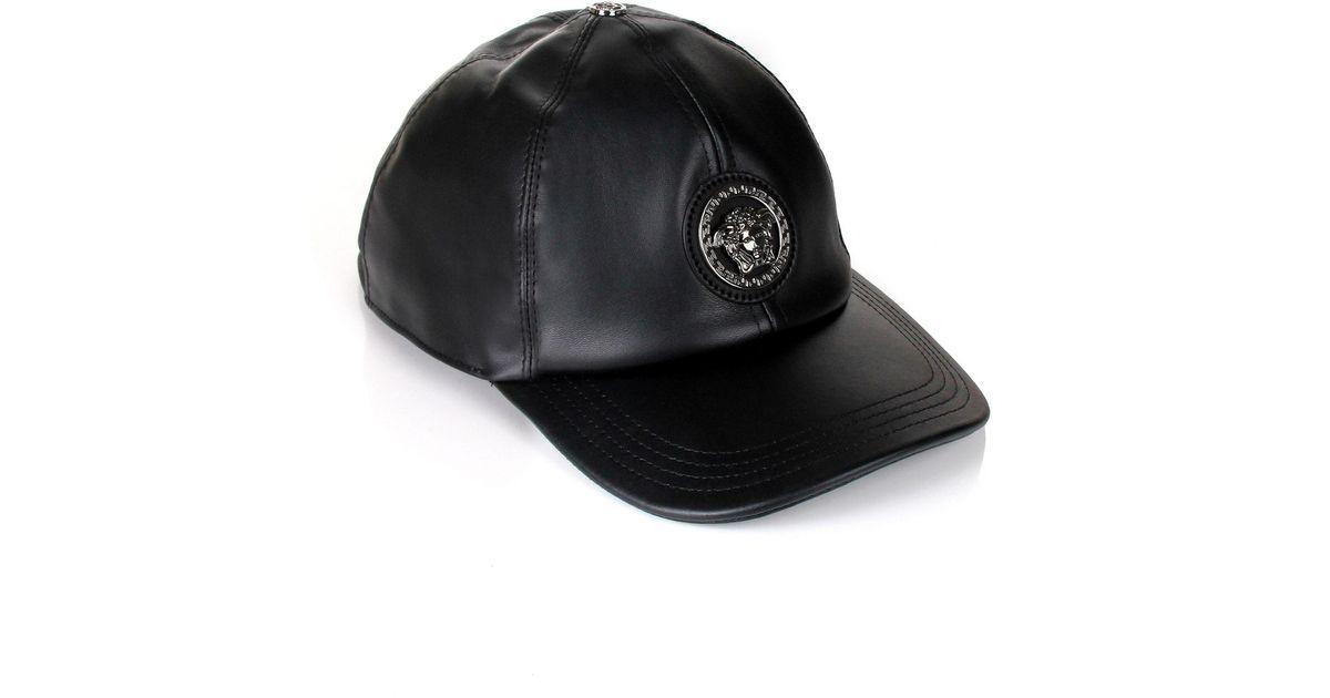 Lyst - Versace Medusa Leather Cap Black in Black for Men fd883b403ae