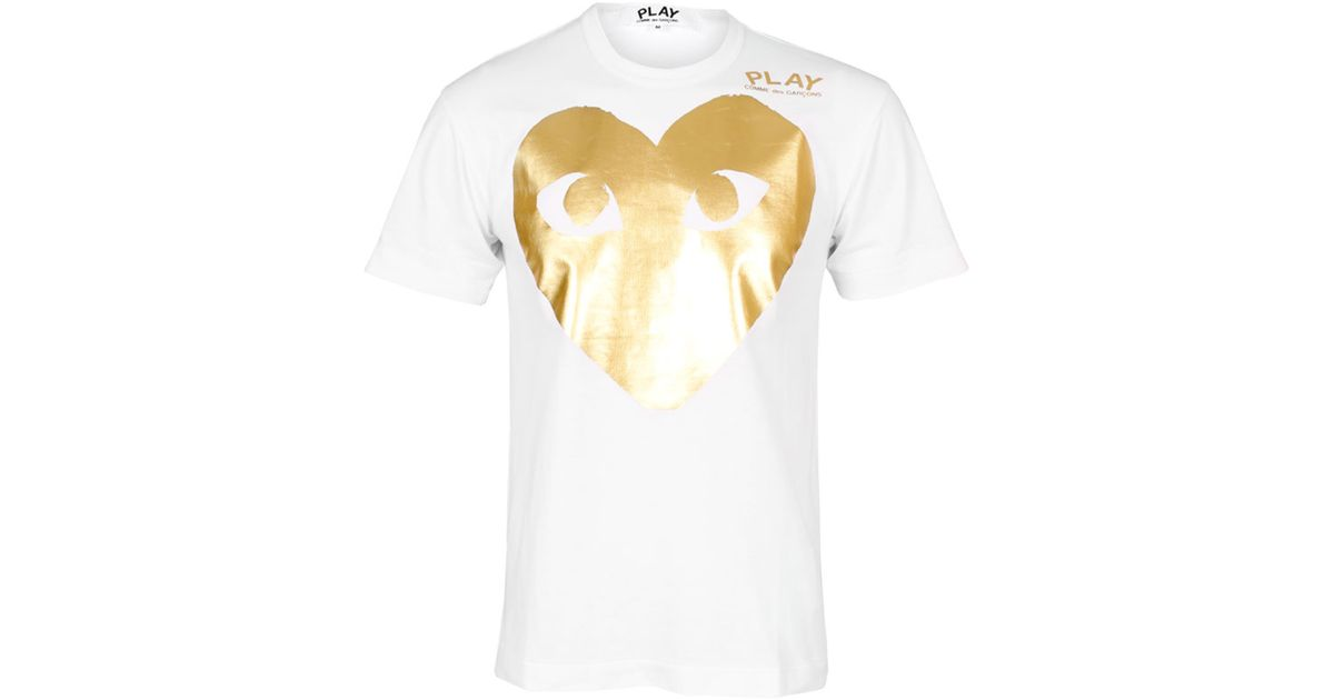 eb82e3596addc Lyst - Play Comme des Garçons Mens Large Gold Foil Heart T-shirt White in  White for Men