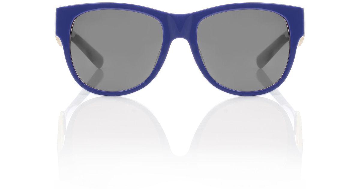 4235a00216 Lyst - Moschino Large Logo Wayfarer Sunglasses Blue grey Lens in Blue