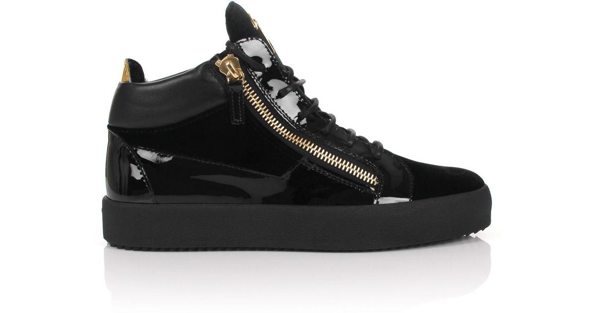 Giuseppe Zanotti Leather mid-top sneaker with fur inside KRISS WINTER fdnbD