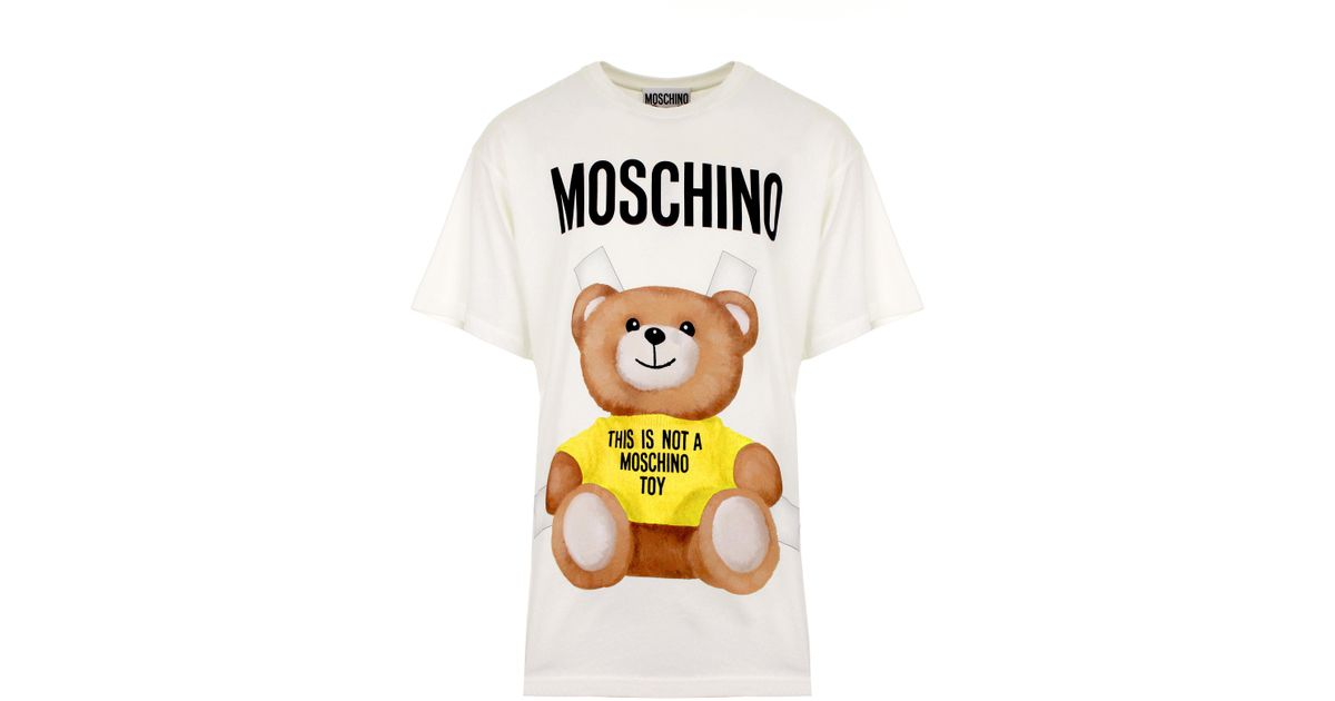 60ffb09fb Moschino This Is Not A Toy Bear T-shirt White/yellow in Yellow - Lyst