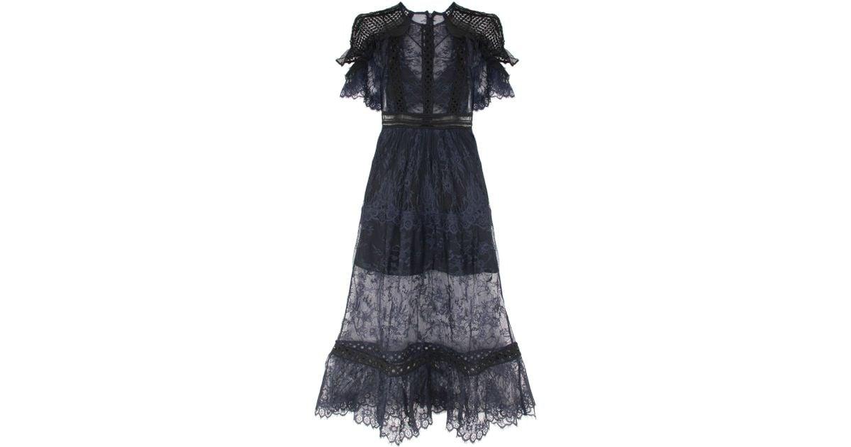 987b23d1a3f46 Self-Portrait Frill Shoulder Fine Lace Dress in Blue - Lyst