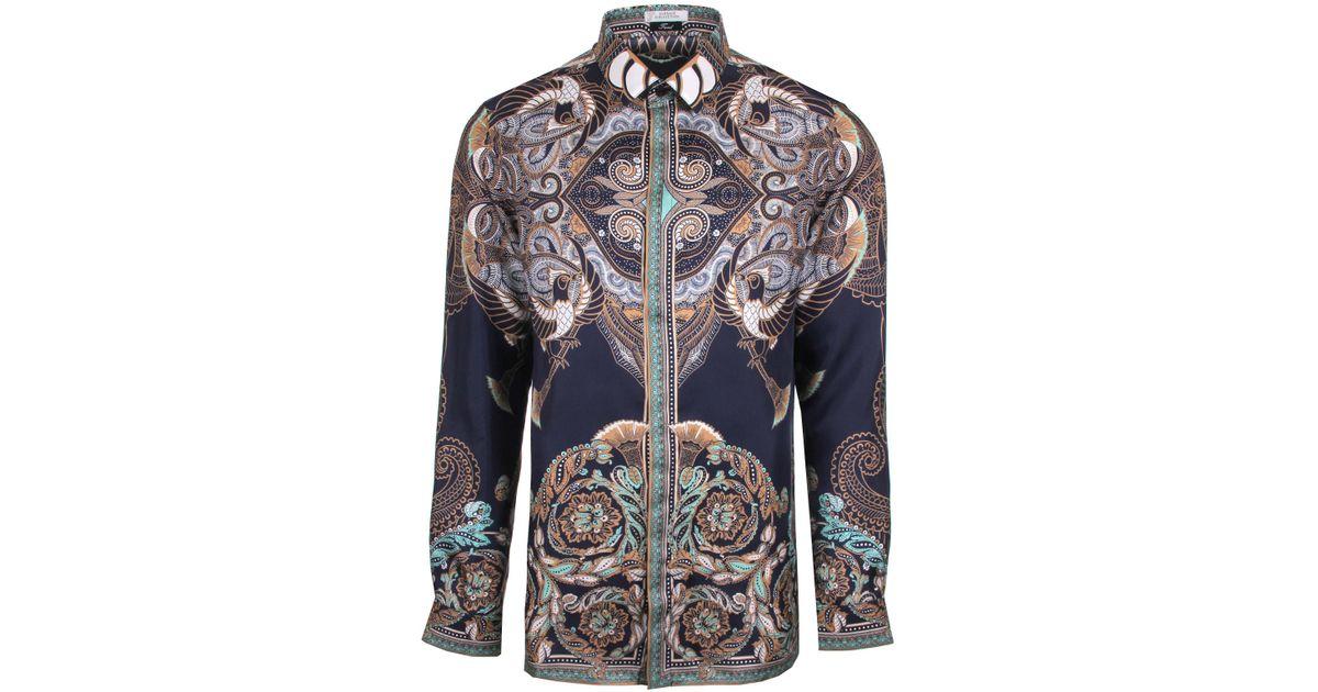 cc5a29a0 Versace Batik-Print Silk Shirt in Blue for Men - Lyst