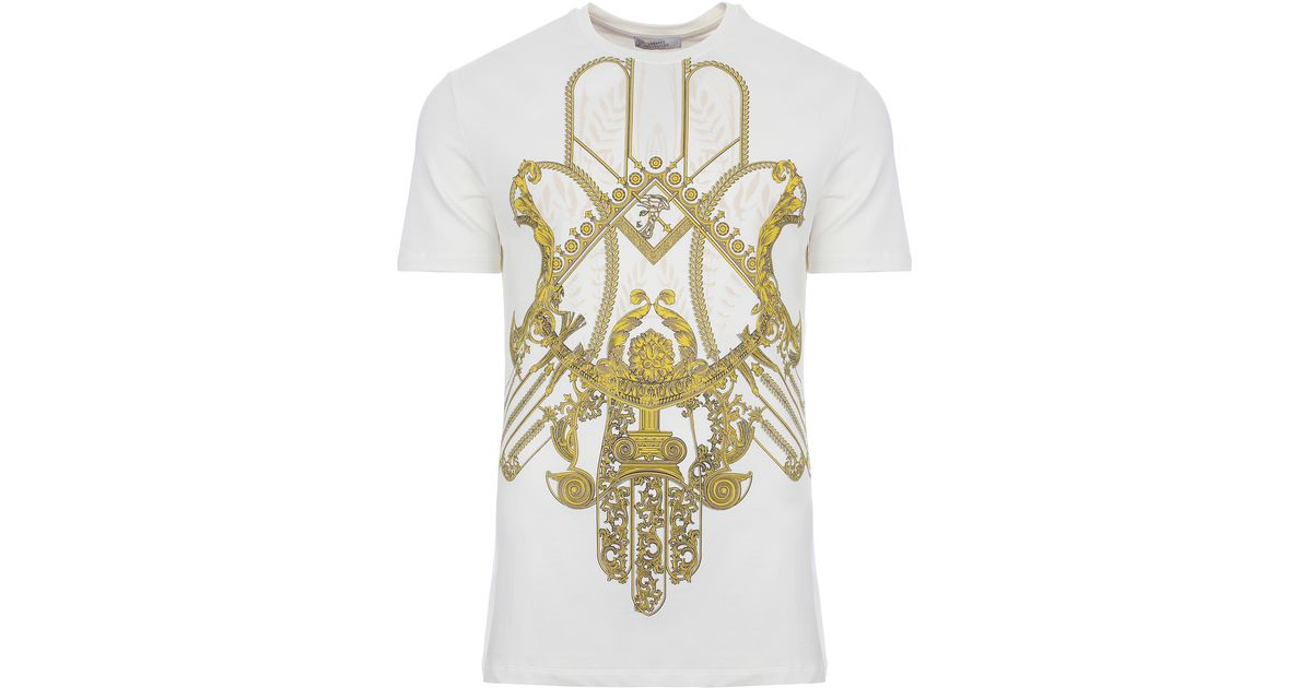 16e6e2ee3 Versace Hamsa Hand Print T-shirt Off White/gold in Metallic for Men - Lyst
