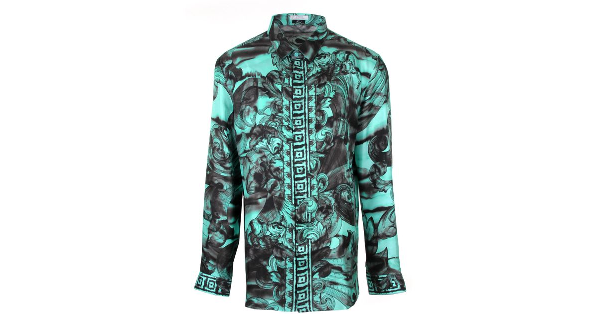 d62d4331 Versace Turquoise Tie Dye Baroque Hand Painted Silk Shirt in Green for Men  - Lyst