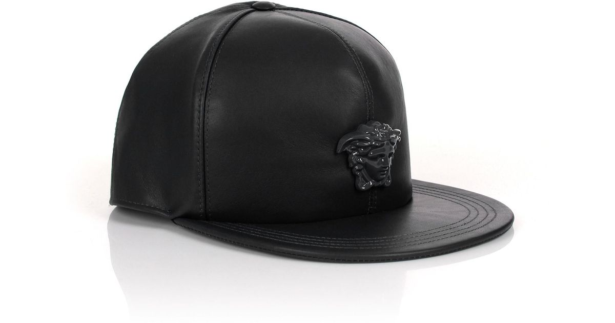 0cbb6907e2f ... canada lyst versace medusa logo leather show cap black black in black  for men 489ad c158b