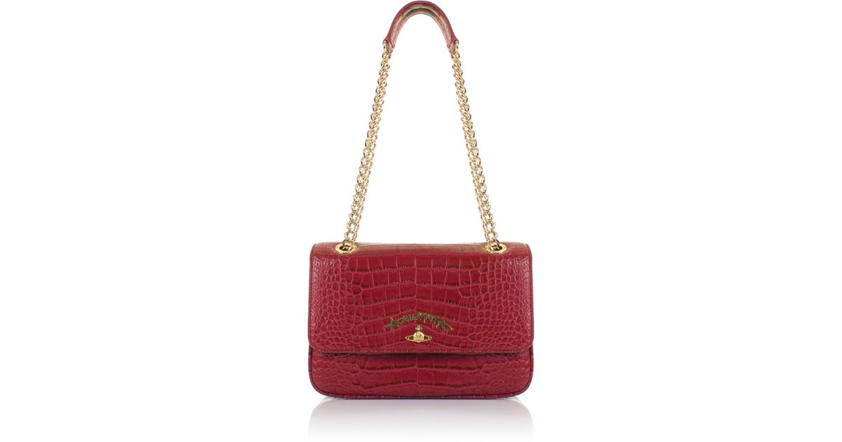 79f7d8780fdb Vivienne Westwood Dorset 7273 Shoulder Bag With Chain Red in Red - Lyst