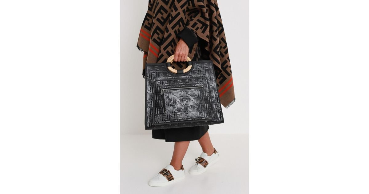 04a19fb8a5c3 Lyst - Fendi Runaway Large Tote With Embossed Ff Motif in Black