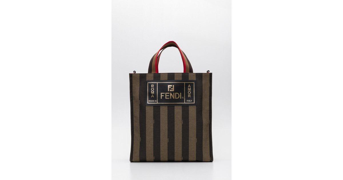 50443c6ae2 Lyst - Fendi Striped Tote Bag in Black for Men