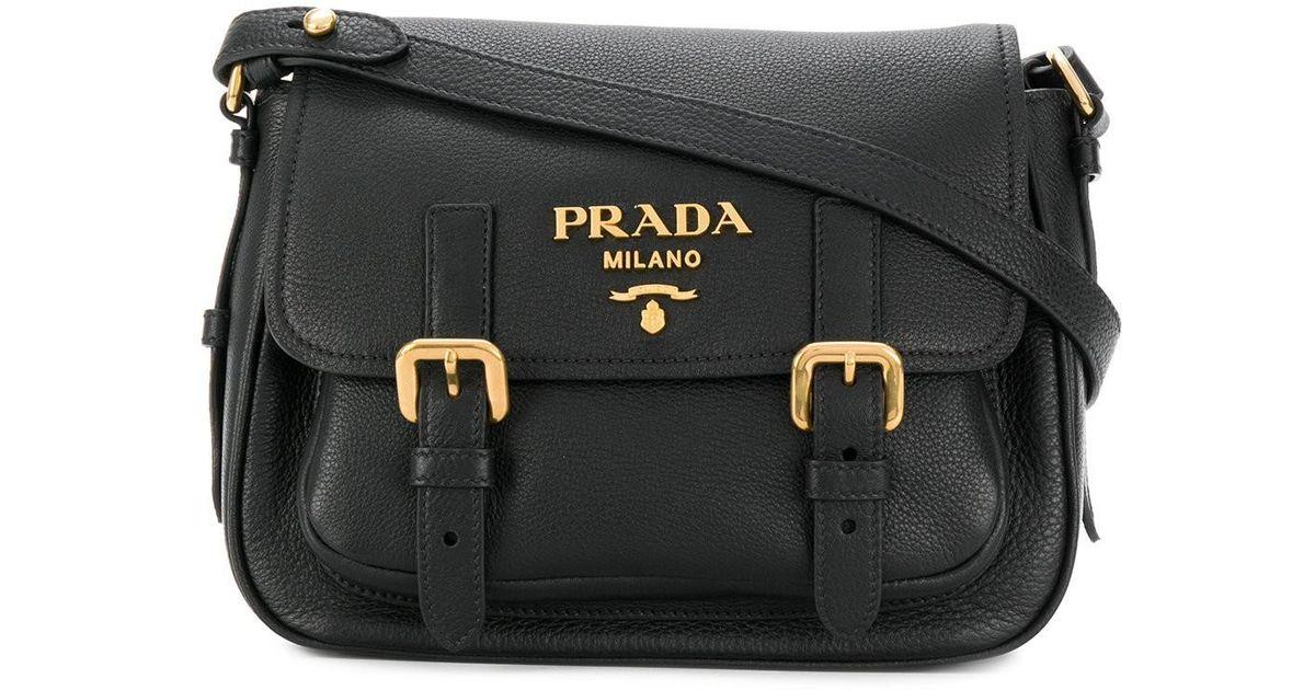 a6cf1a784a Prada Buckle Flap Crossbody Bag in Black - Lyst