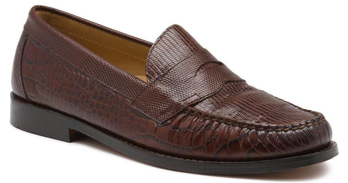 f71a880d228 Lyst - G.H.BASS Weejuns X Engineered Garments Logan Faux Croc Penny Loafer  in Brown for Men