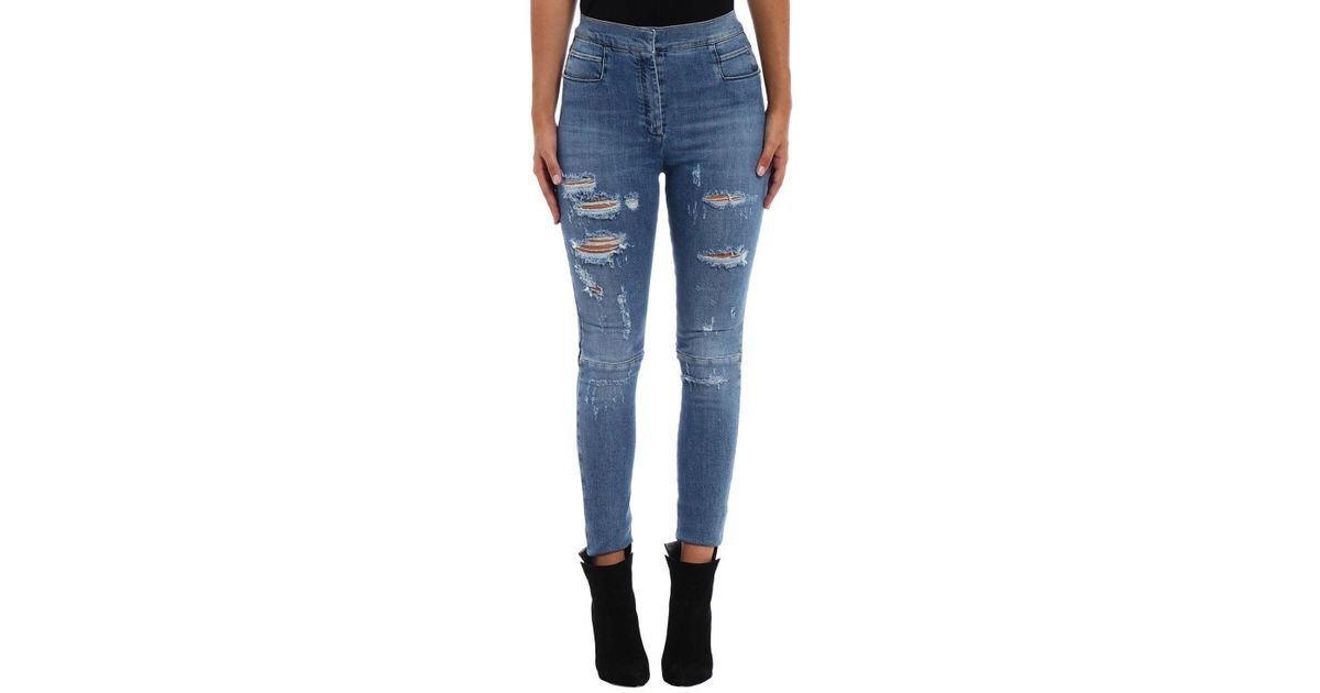0fcdc4e7 Balmain Distressed Skinny Jeans in Blue - Lyst