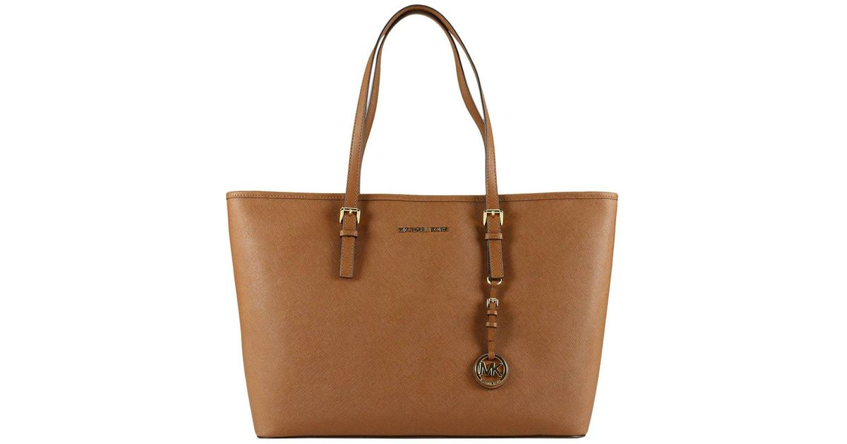 8cc97afa102f MICHAEL Michael Kors Shoulder Bag Large Jet Set Travel Tote Bag In Saffiano  Leather in Brown - Lyst