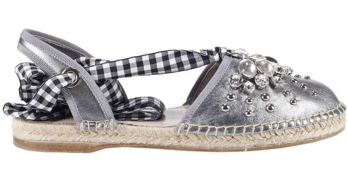 Lyst - Miu Miu Espadrilles Shoes Women in Metallic b6ae048b8e