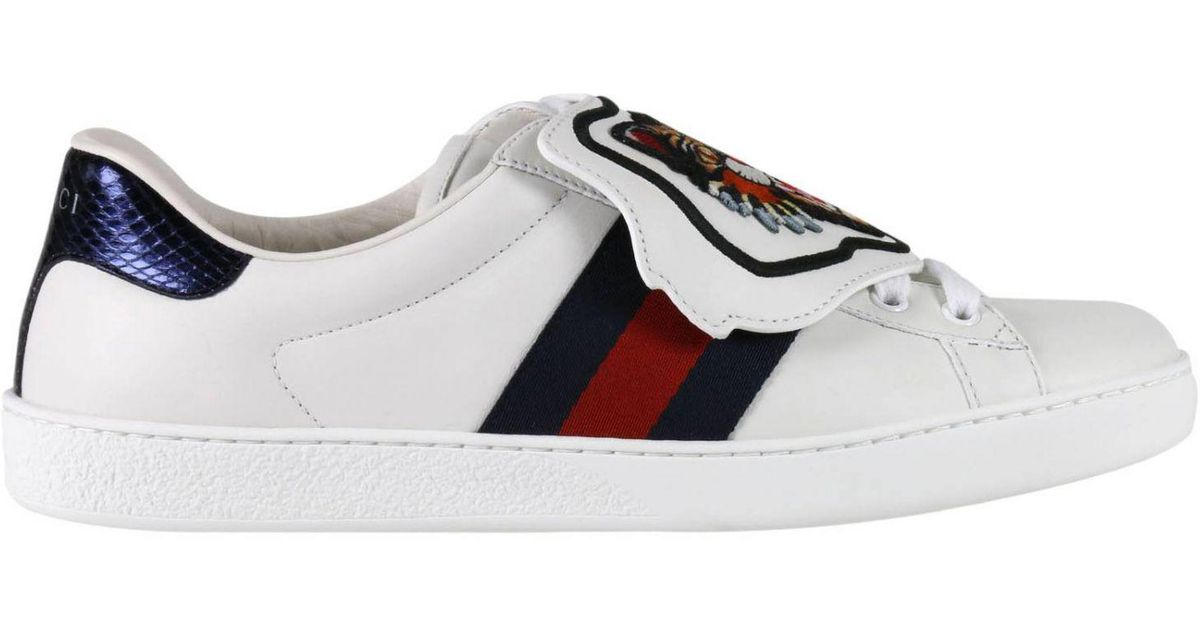 879da287f4d Gucci Ace Sneakers With Embroidered Angry Cat Removable Patches And Web  Bands in White for Men - Lyst