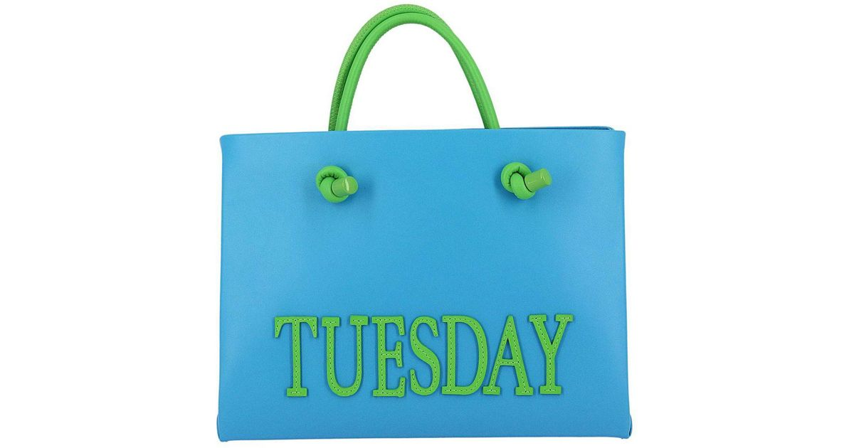 b3da2ddcae75 alberta-ferretti-Gnawed-blue-Shopping-Bag-Rainbow-Week-Small-In-Leather-With -Maxi-Lettering-Tuesday.jpeg