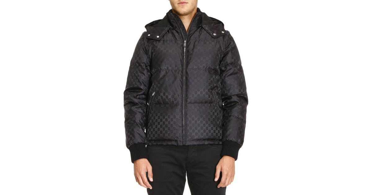 fd7a2f5f1 Gucci Bomber Down Jacket With Removable Sleeves And Gg Monogram in Black  for Men - Lyst