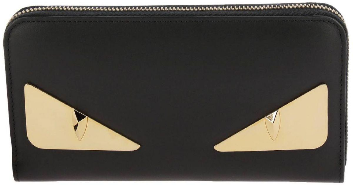 78bdc7343e0 Lyst - Fendi Monster Eyes Continental Wallet In Smooth Leather With  Metallic Eyes Bag Bugs in Black for Men