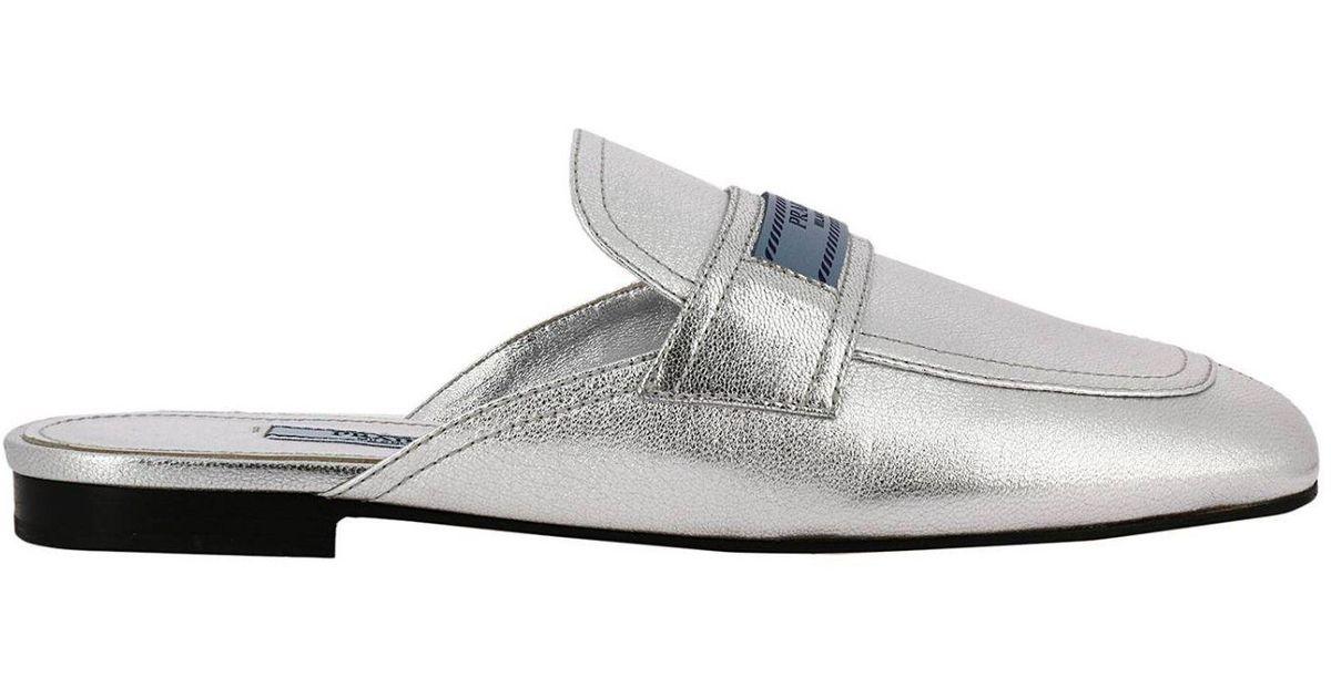 88f09cc2d8 Prada Ballet Flats Shoes Women in Metallic - Lyst