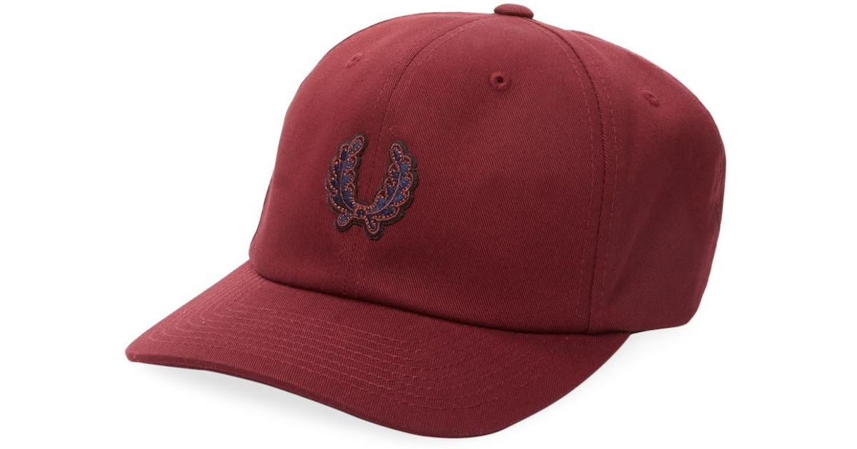 f47c3ab1eb973c Fred Perry Stussy Cotton Cap in Red for Men - Lyst