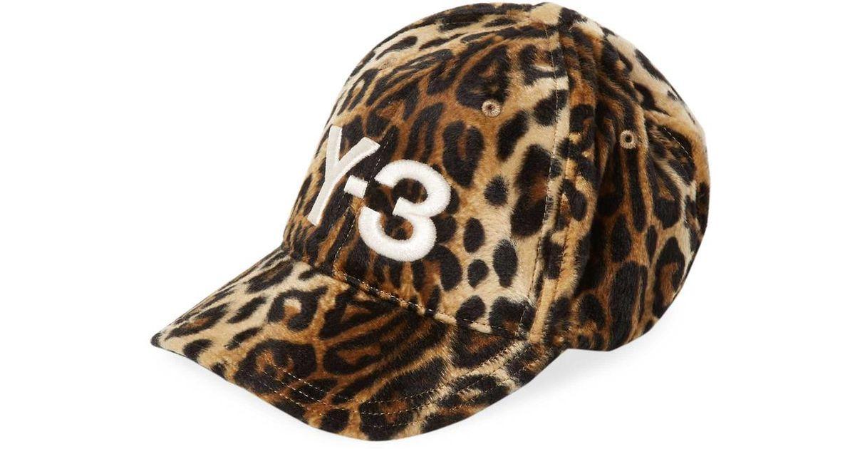 Lyst - Y-3 Leopard Print Baseball Cap in Brown c7ae1aaa104