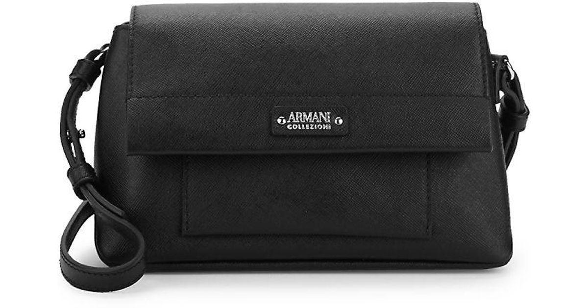 Armani Mini Leather Shoulder Bag in Black - Lyst 1c229c6cc4a43