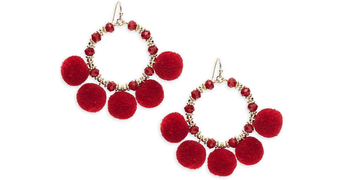f5a8897c29d524 Saks Fifth Avenue Pom Pom Hoop Earrings in Red - Lyst