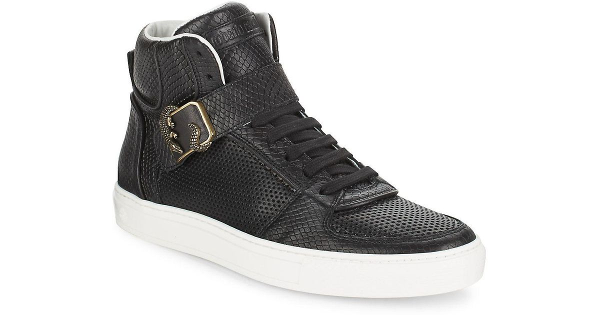 566c30dcf90b3 Lyst - Roberto Cavalli Snake-embossed Leather High Top Sneakers in Black  for Men