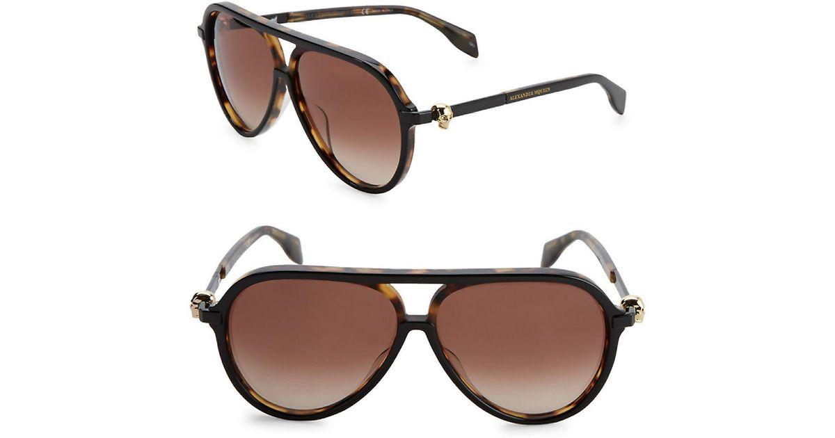 2ad06d4c77cd Lyst - Alexander Mcqueen 59mm Tortoiseshell Aviator Sunglasses in Brown for  Men