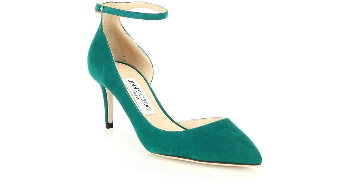 85a1578a0332 Lyst - Jimmy Choo Lucy 65 Suede D orsay Ankle-strap Pumps in Green