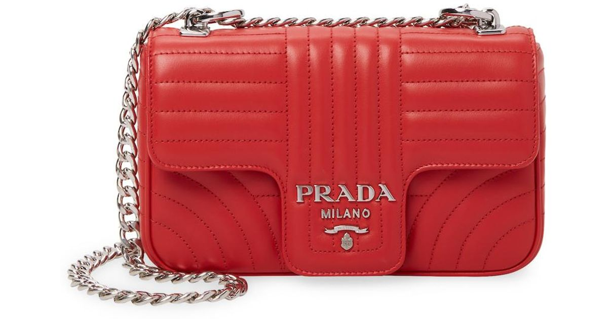 353ddba6be79 Lyst - Prada Channel Quilted Crossbody Bag in Red