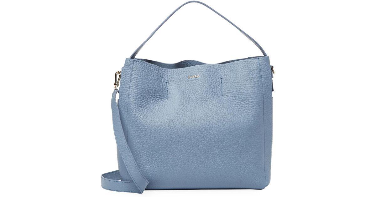 Furla Capriccio M blue leather hobo bag zP5ubQdzf
