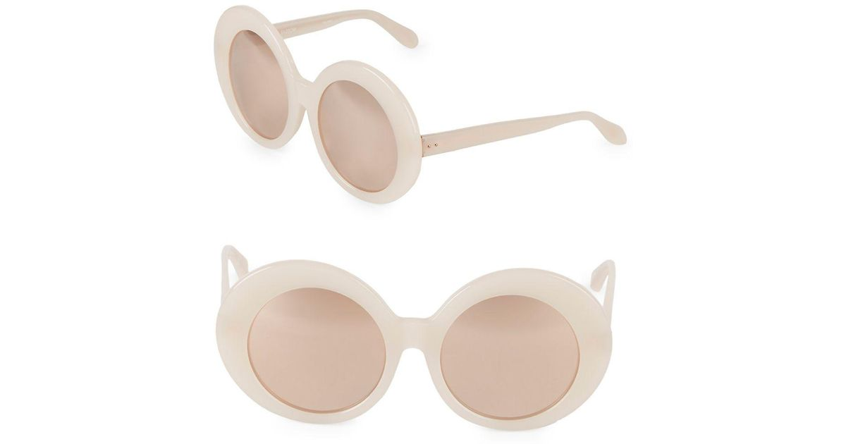 1a2728646543 Lyst - Linda Farrow 55m Round Sunglasses in Pink