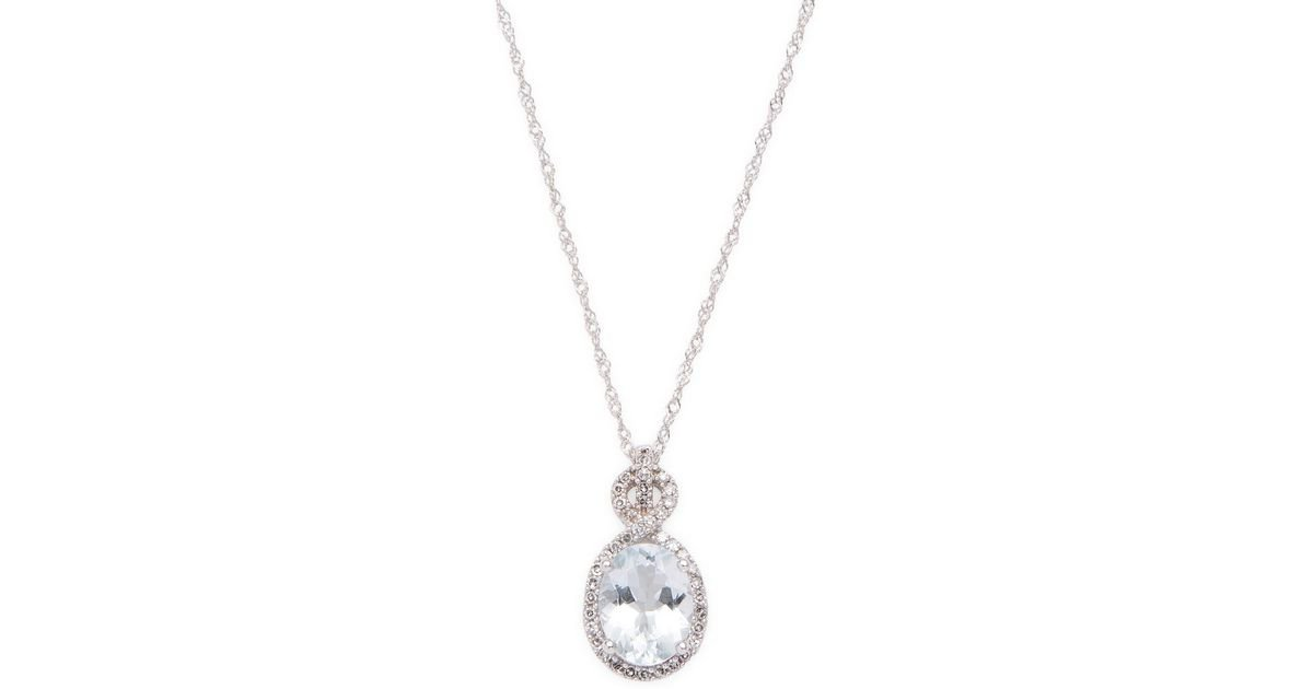 Lyst rina limor 10k white gold oval aquamarine diamond pendant lyst rina limor 10k white gold oval aquamarine diamond pendant necklace in metallic aloadofball Image collections