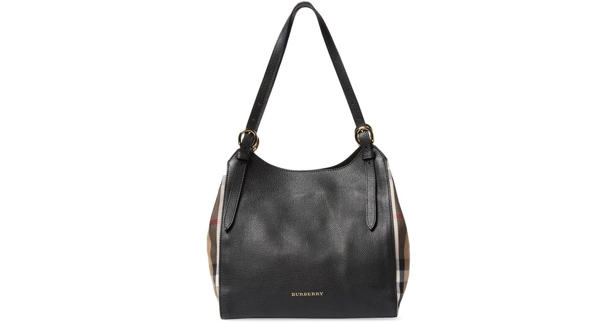 005631d98310 Lyst - Burberry Small Canter Leather   House Check Tote in Black
