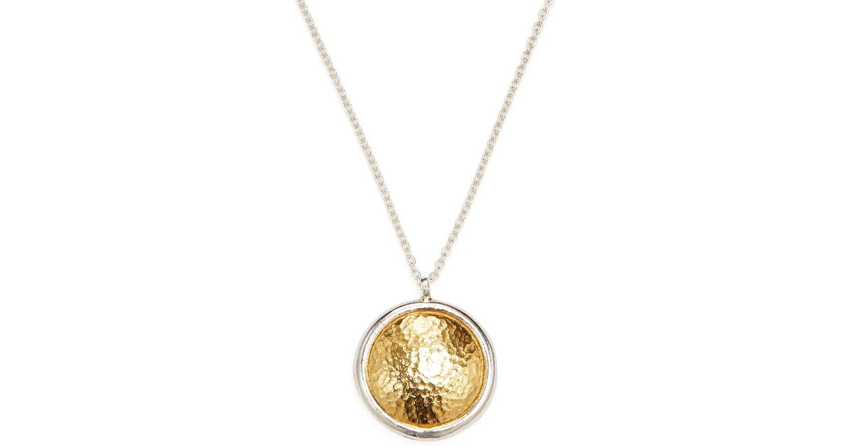Lyst gurhan 24k yellow gold sterling silver amulet round lyst gurhan 24k yellow gold sterling silver amulet round pendant necklace in metallic aloadofball Image collections