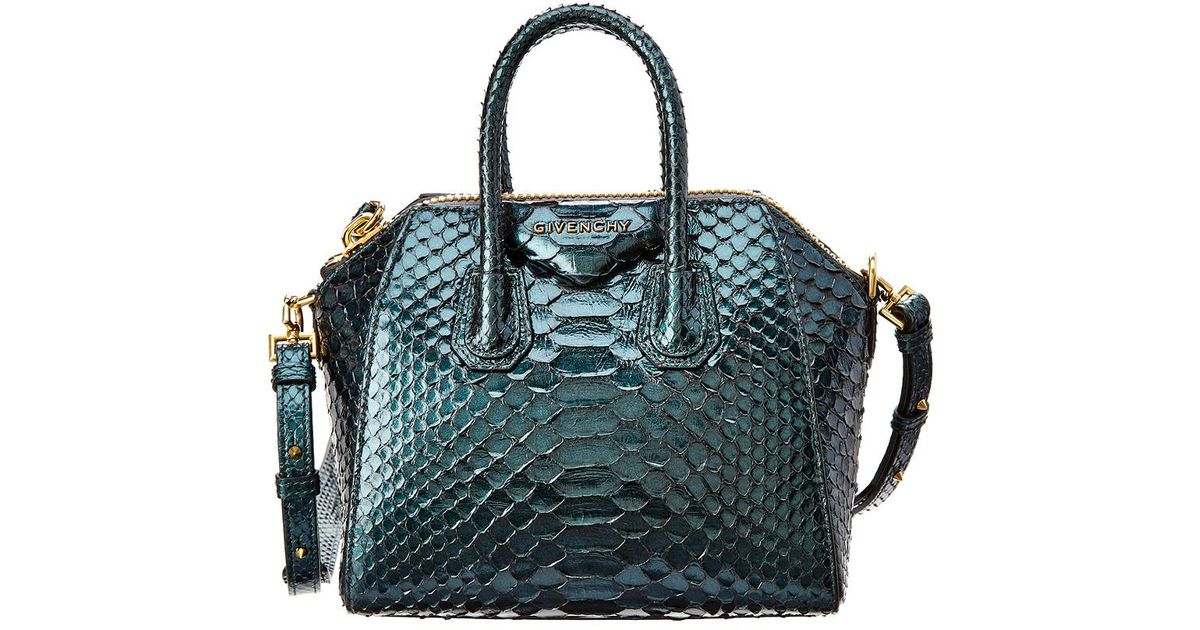 6b8c51034b99 Lyst - Givenchy Mini Antigona Python Satchel in Green