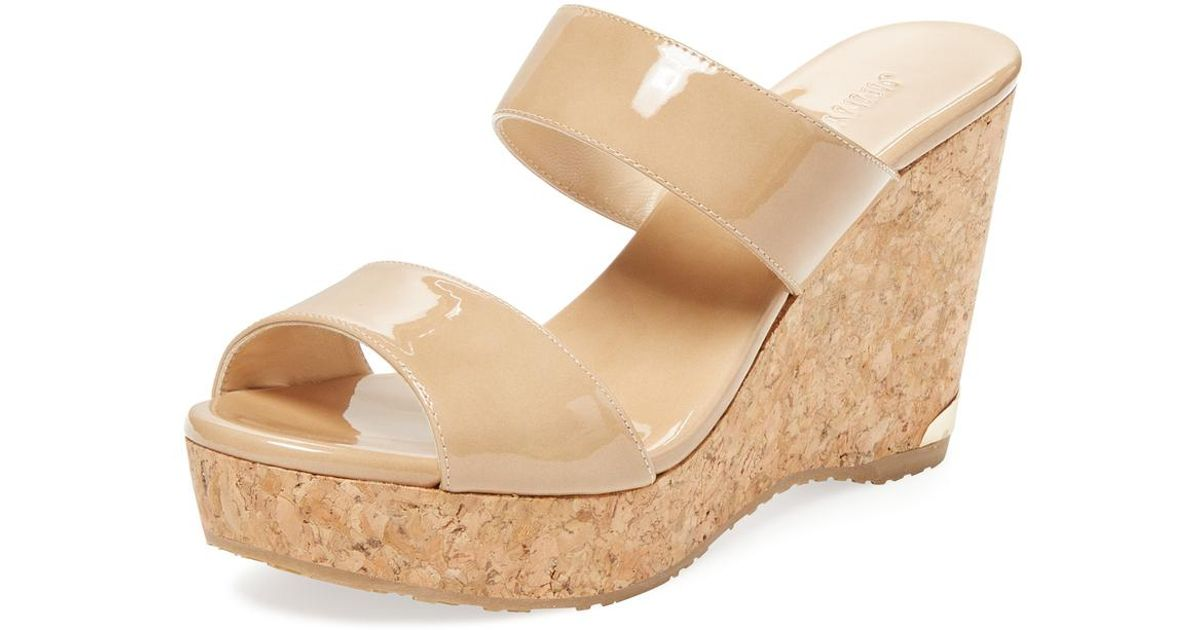 876193347adc Lyst - Jimmy Choo Parker 100 Patent Leather Wedge in Natural