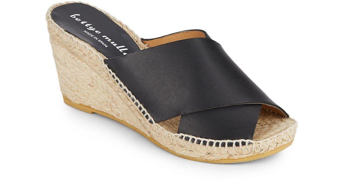 342dea8fcd7 Lyst - Bettye Muller Dijon Leather Wedge Espadrille Mule Sandals in Black